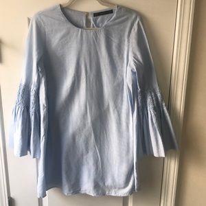 Light Blue Zara Bell Sleeve Mini Dress/Romper